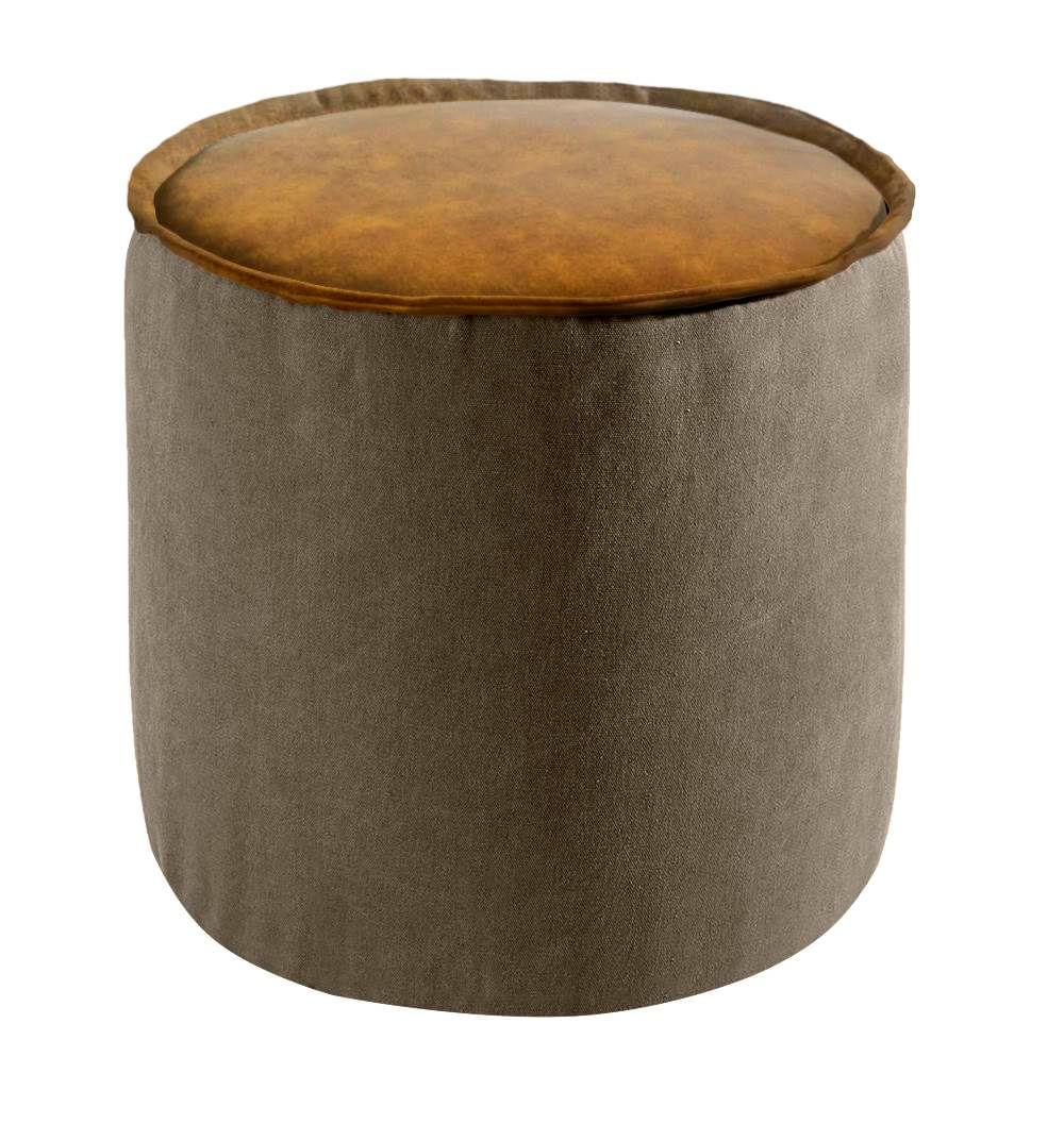 Puff Angra Lona Marrom PU Caramelo Shine 41 cm - 42085