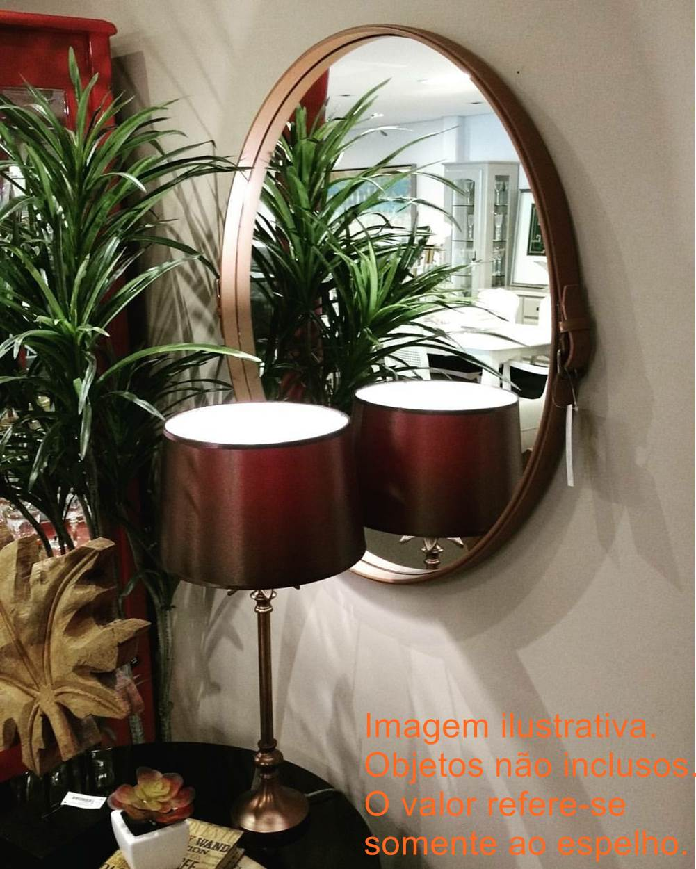 Espelho Fontenelle Couro Terracota 90 cm (LARG) - 40468