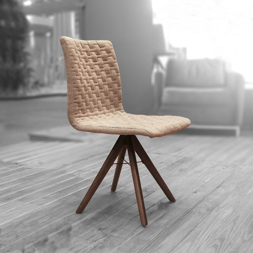 Cadeira Sun Linho Marrom Mescla Base Cone Giratoria - 42453