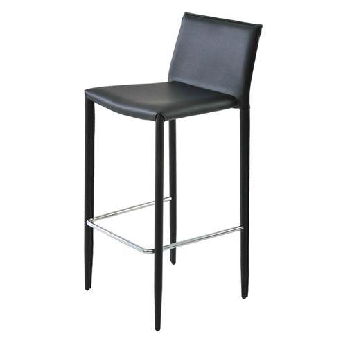 Banqueta-Amanda-6606-PVC-Preto-Estrutura-em-Metal