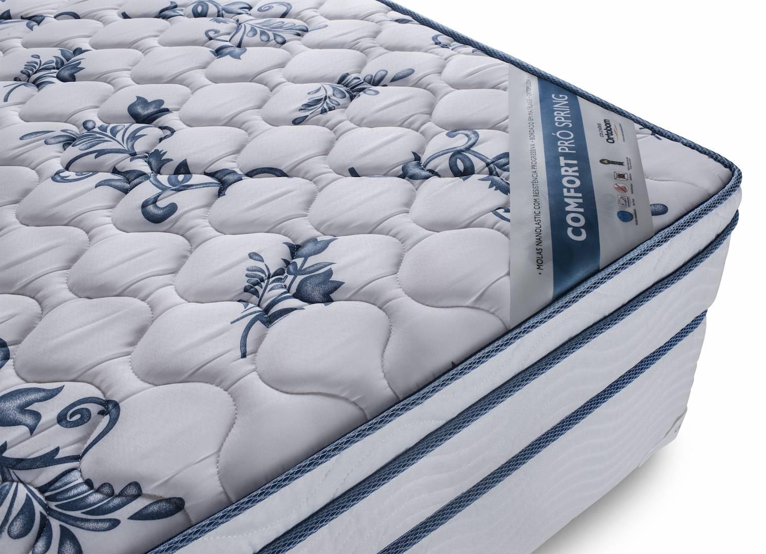 Colchao Comfort Pro Spring Solteiro 88 cm (LARG) Branco e Azul - 43012