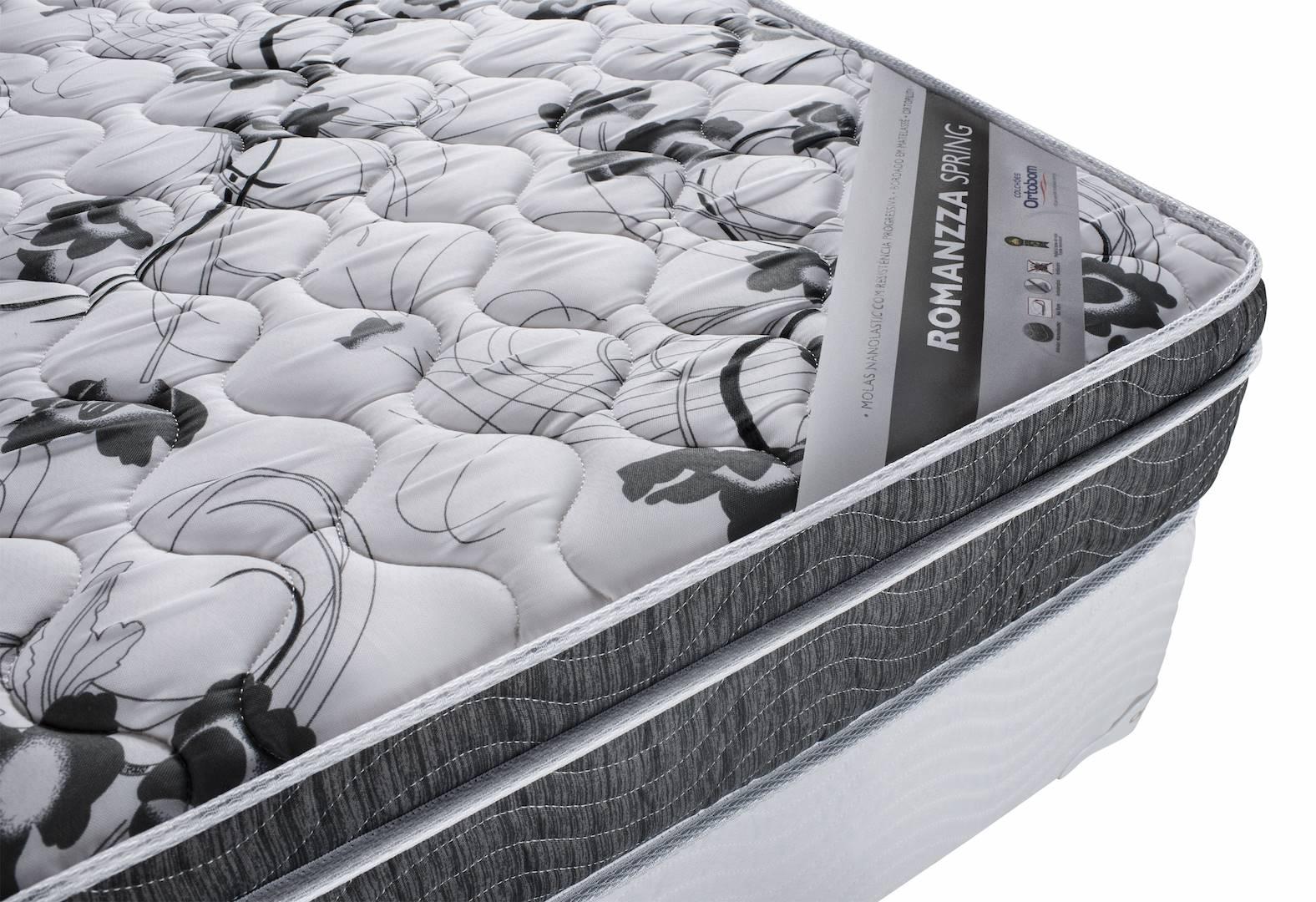 Colchao Romanzza Spring Casal 138 cm (LARG) Branco e Grafite - 43024