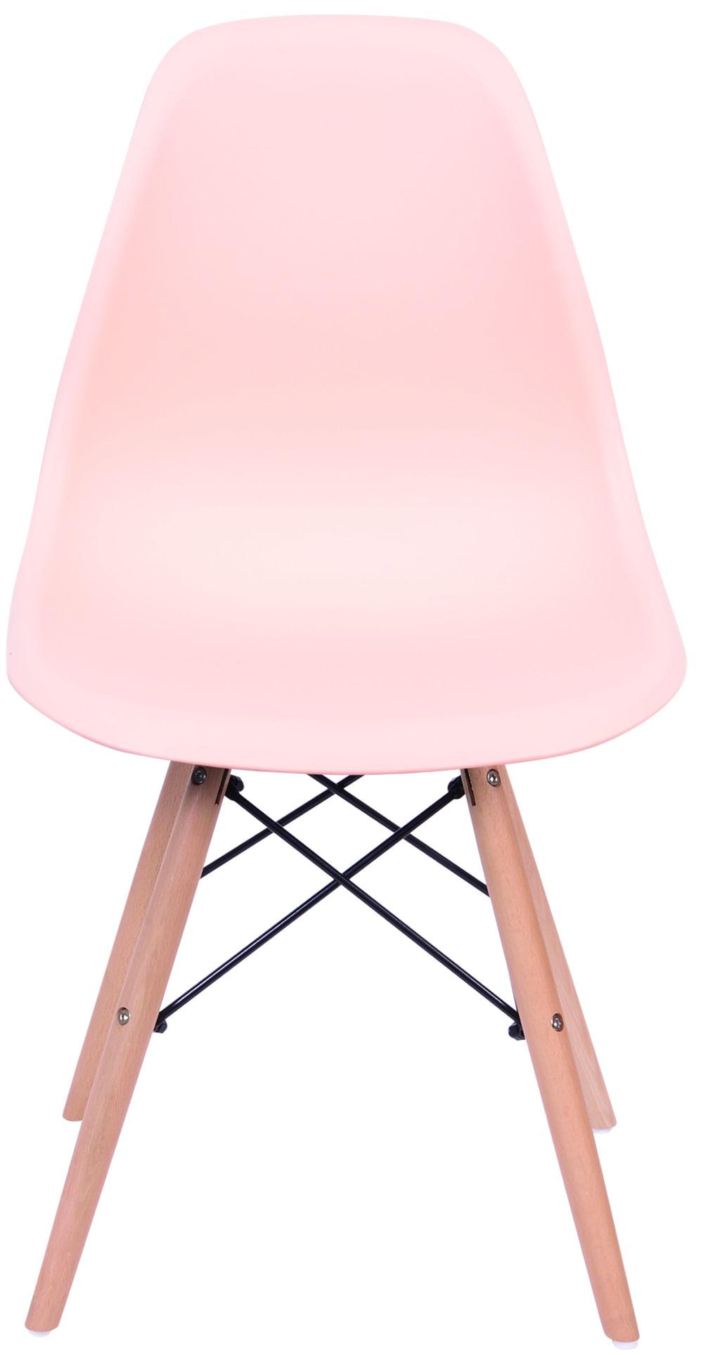 Cadeira Eames Polipropileno Salmao Base Madeira - 43038