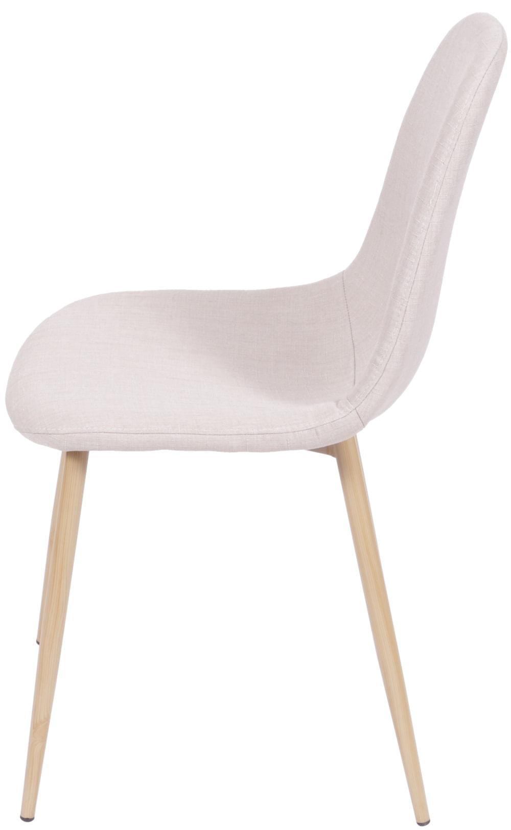 Cadeira Robin Linho Bege Base de Metal com Pintura de Madeira - 43057