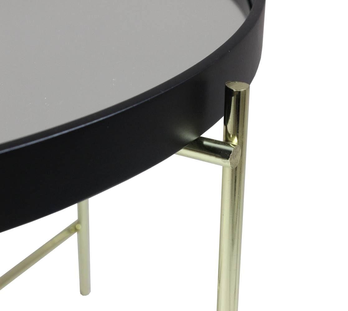 Mesa Centro Volpi Alta Tampo Espelho com Base Dourado 63 cm (LARG) - 43475