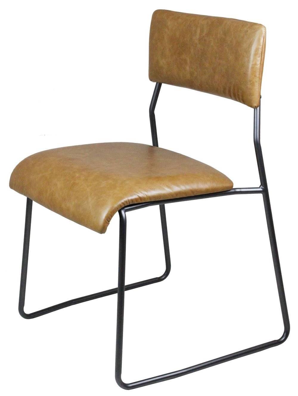 Cadeira Lampa Couro Natural Caramelo com Base Aco Bruto - 43468