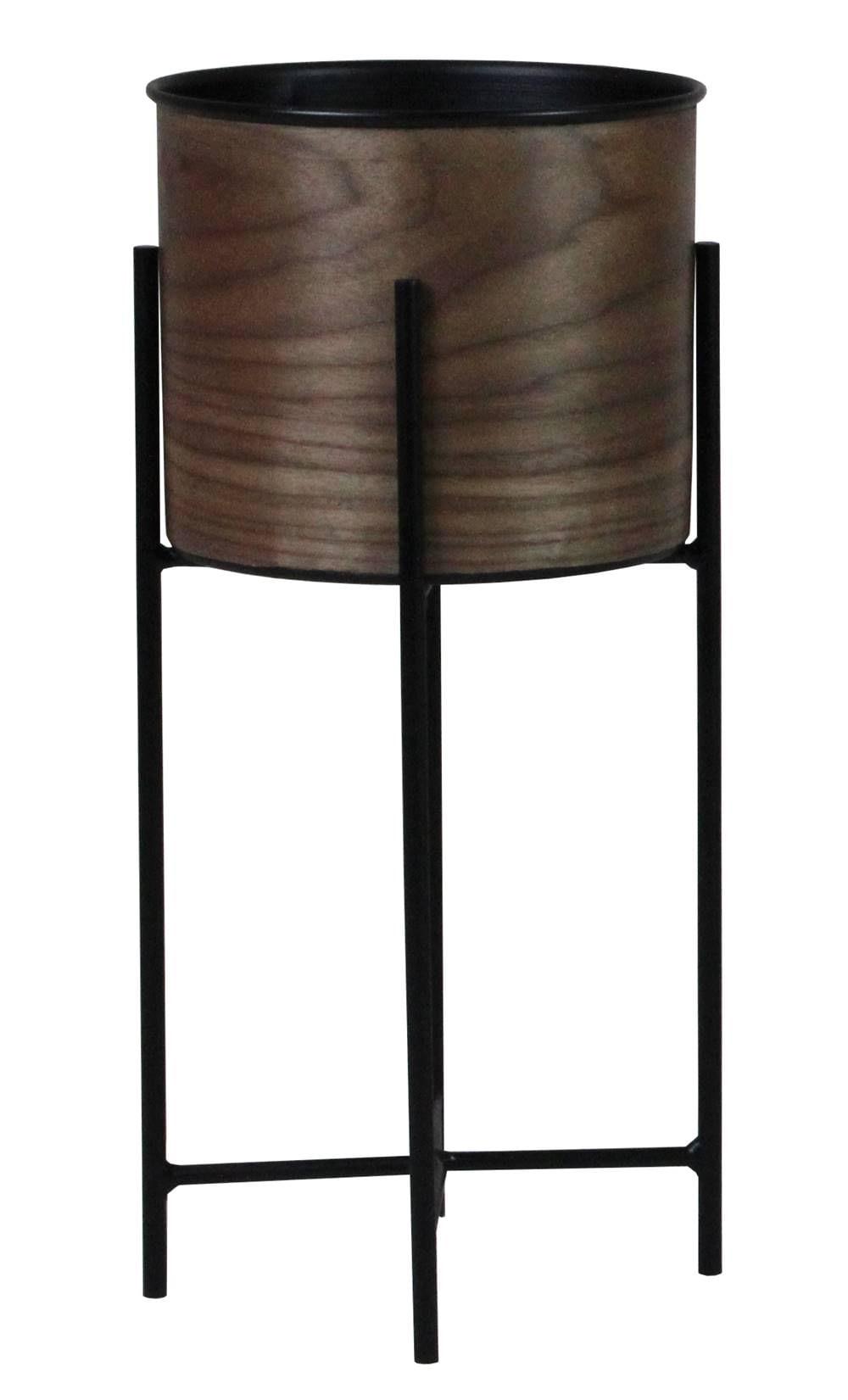 Cachepot Popis Baixo Laminado Nogueira com Base Aco 48 cm (ALT) - 43522