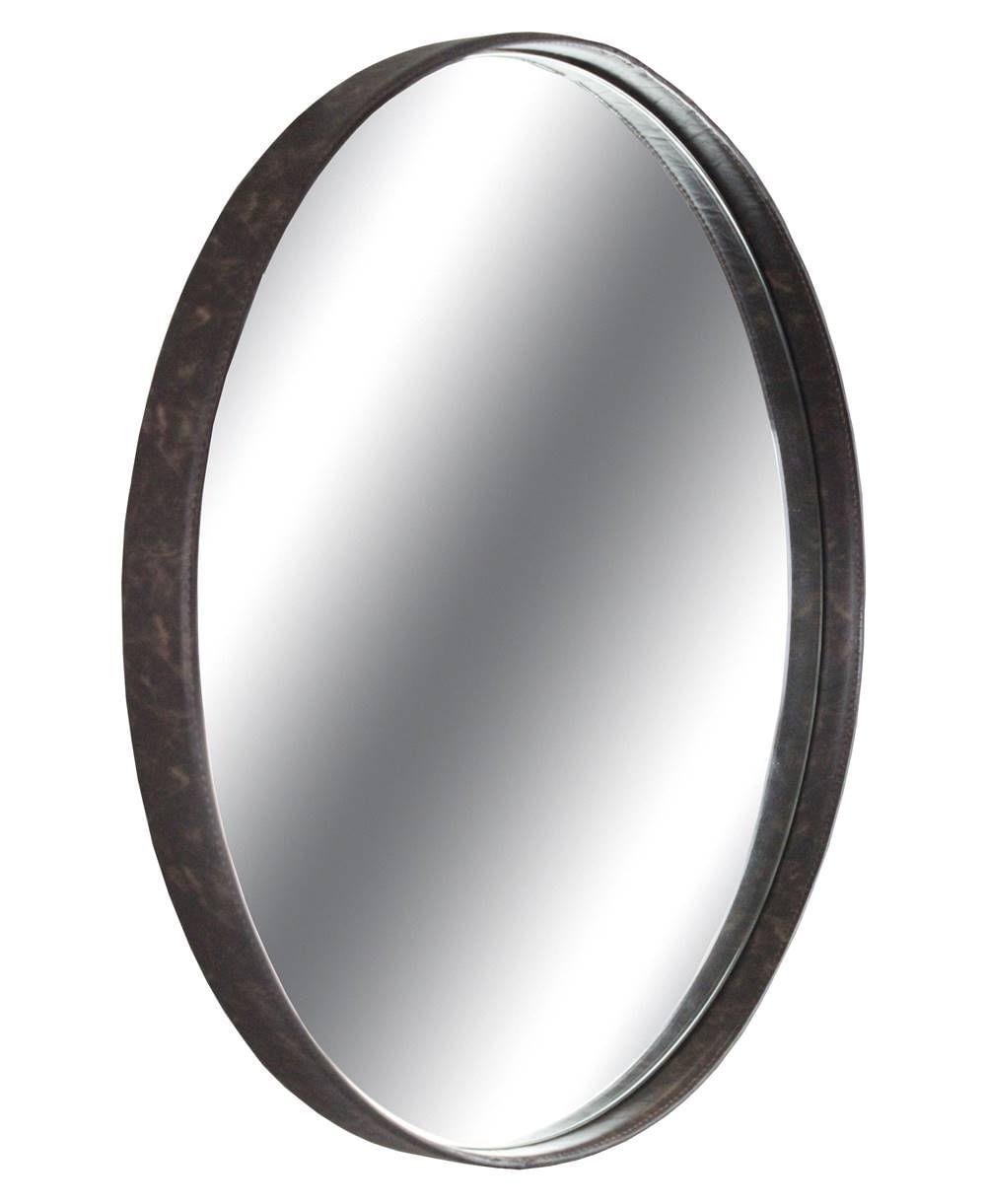 Espelho Boris Moldura Aco Revestido em Couro Castanho 90 cm (LARG) - 43558
