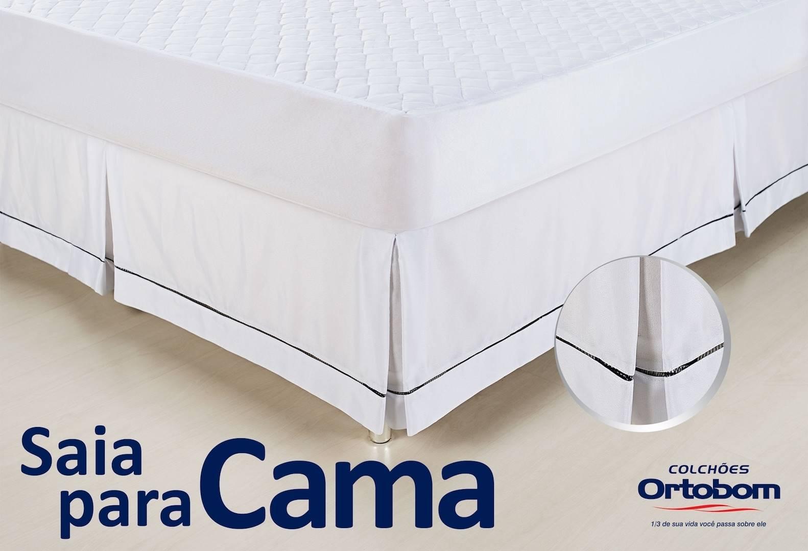 Saia para Cama Box cor Branco Solteiro 90 cm (LARG) - 43590