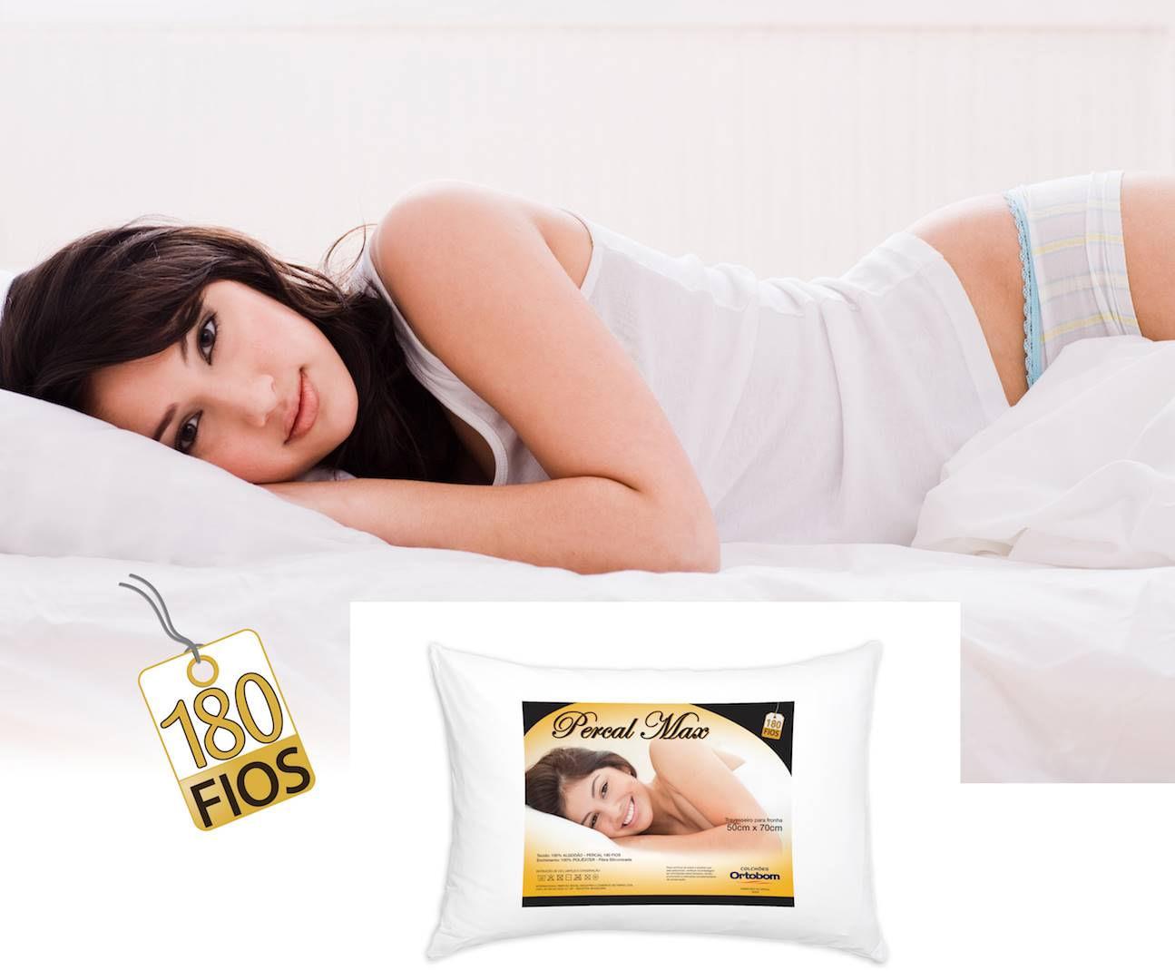 Travesseiro Percal 180 Fios MAX cor Branco - 43595