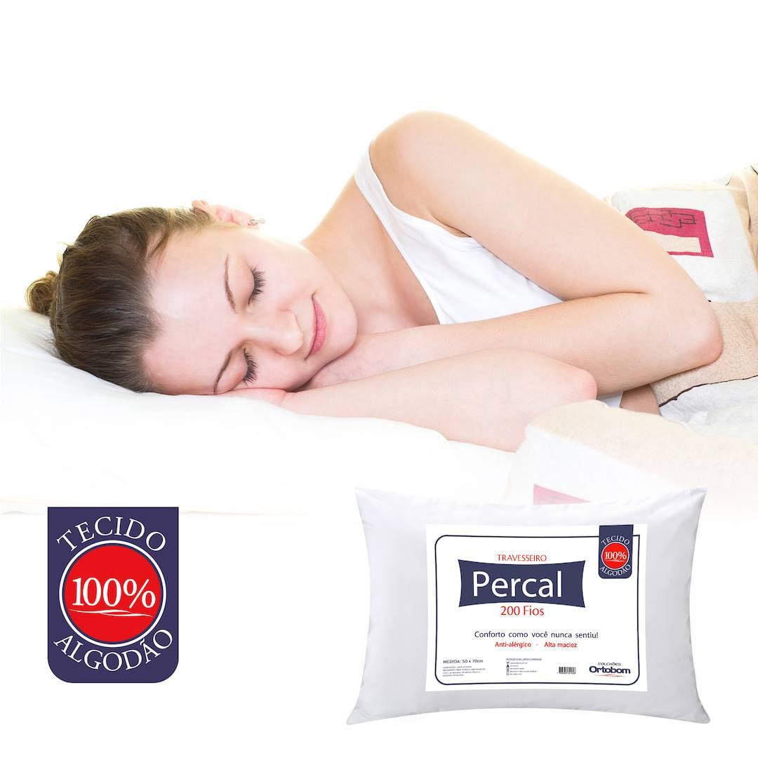 Travesseiro Percal 200 Fios Plus cor Branco - 43603