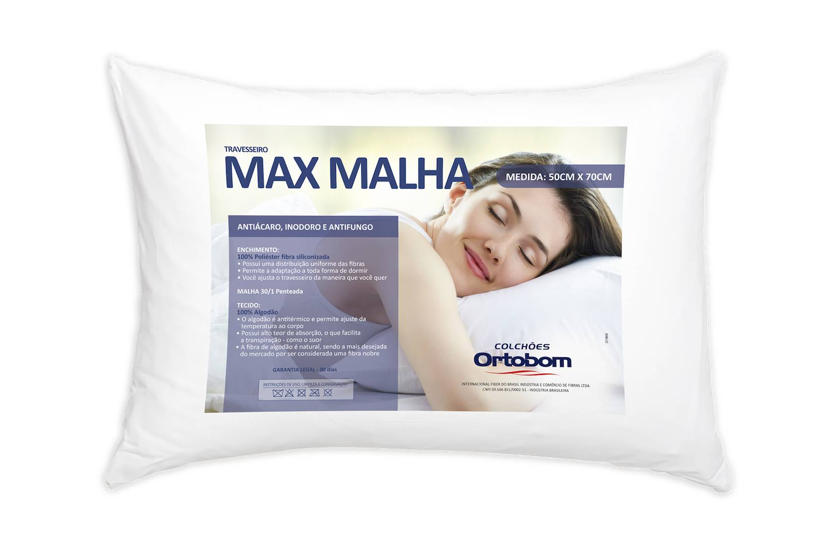 Travesseiro Max Malha cor Branco - 43605