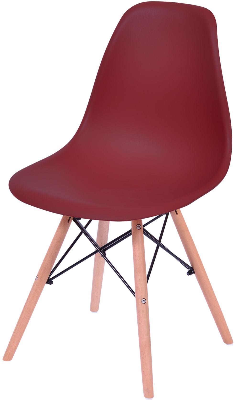Cadeira Eames Polipropileno Vinho Base Madeira - 43035