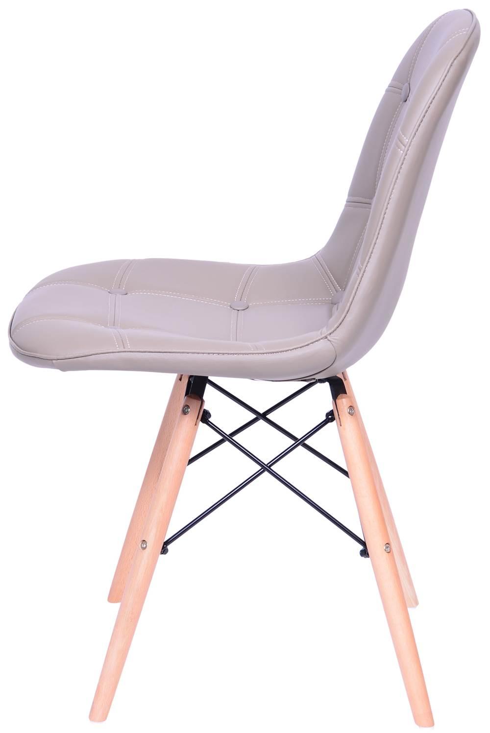 Cadeira Eames Botone Fendi Base Madeira - 43609