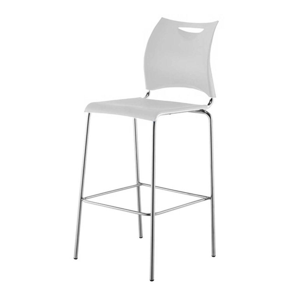 Banqueta One Assento em Polipropileno Branco com Base Cromada 1,14 MT (ALT) - 44125 - SunHouse