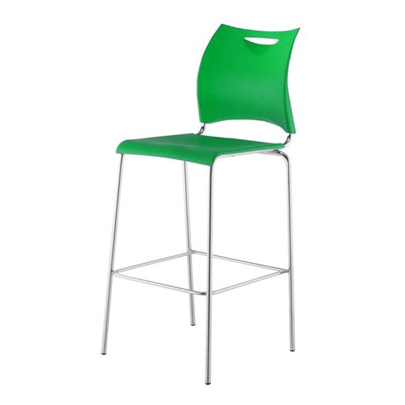 Banqueta-One-Assento-em-Polipropileno-Verde-com-Base-Cromada---44130