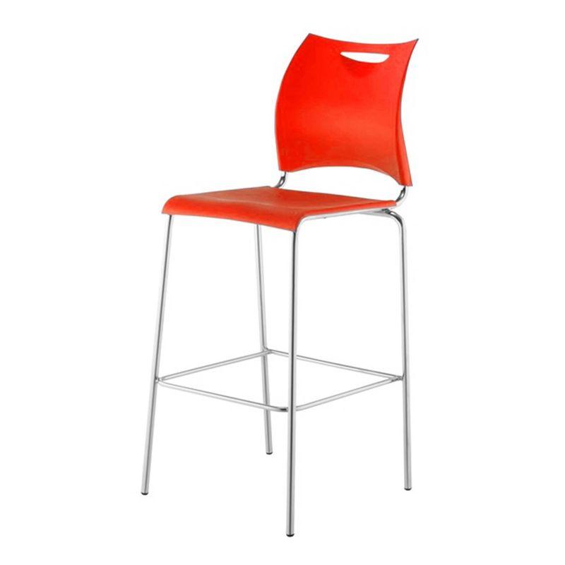 Banqueta-One-Assento-em-Polipropileno-Vermelho-com-Base-Cromada---44131