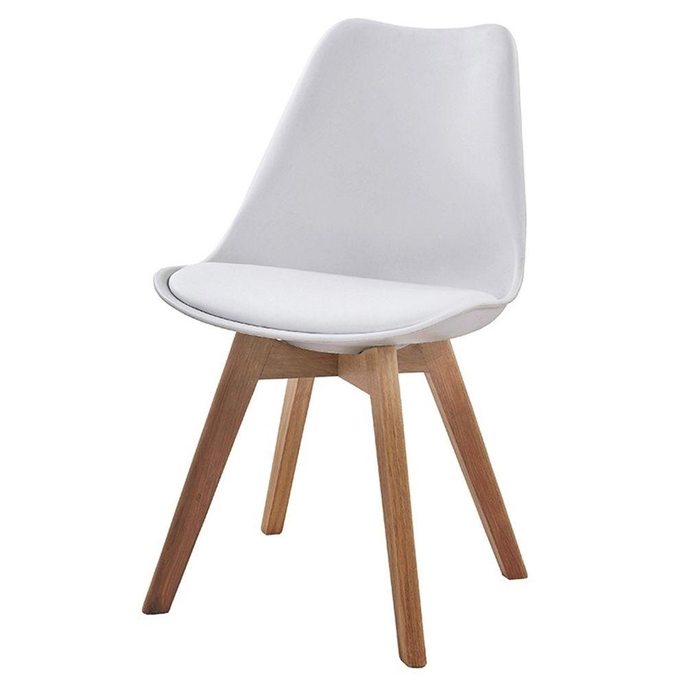 Cadeira Mkc 035 Assento Em Pu Branco Com Base Madeira Natural
