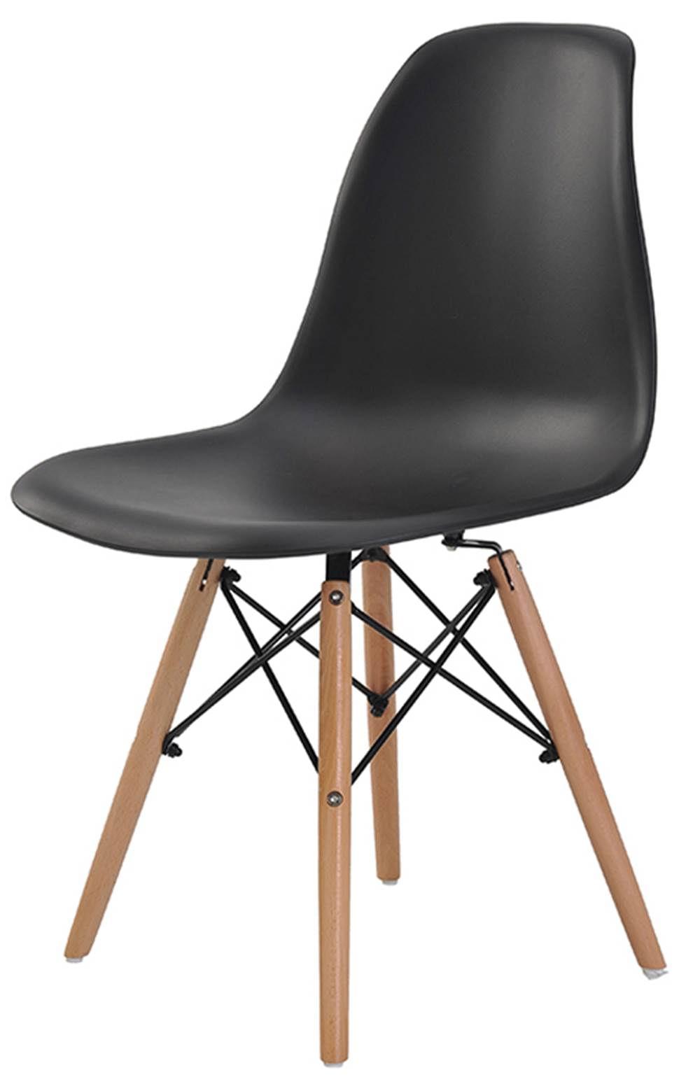 Cadeira Eames Eiffel Polipropileno Preto Base Madeira - 44161