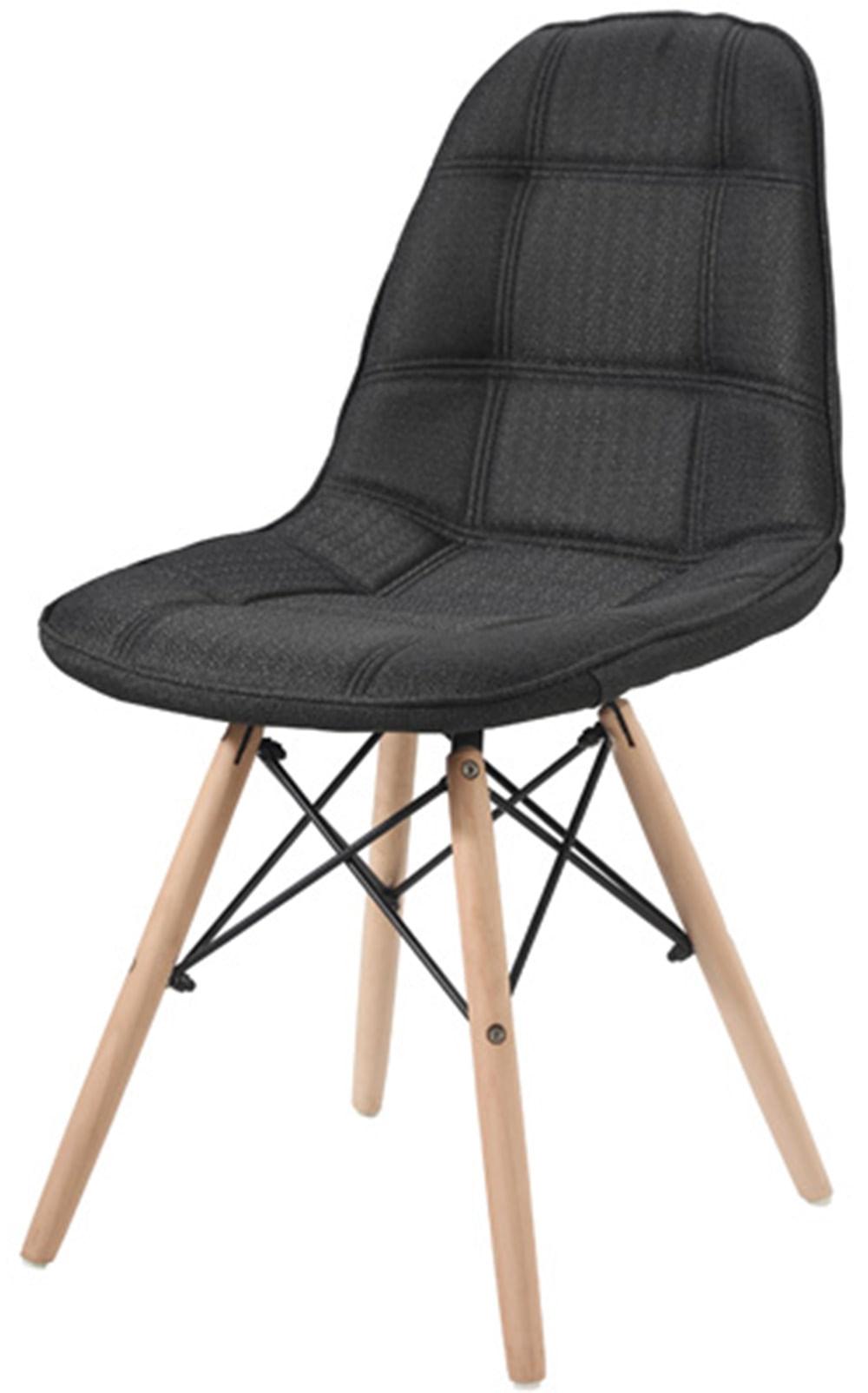 Cadeira Eames Estofada Linho Preta Base Madeira - 42947