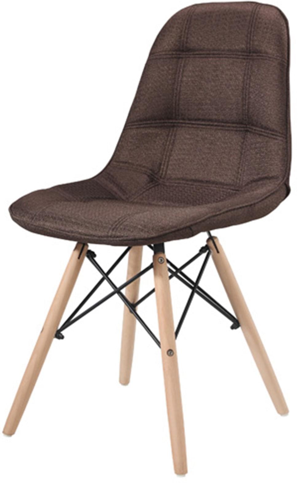 Cadeira Eames Estofada Linho Marrom Base Madeira - 43055