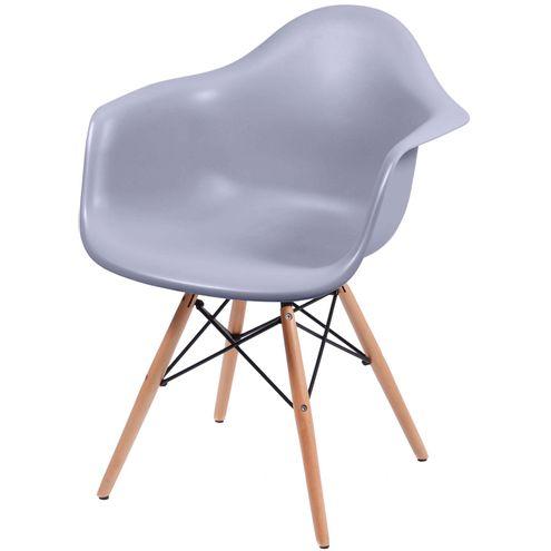 Cadeira Eames com Braco Base Madeira Cinza Fosco - 43633