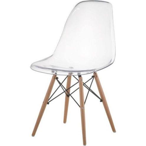Cadeira-Eames-Eiffel-Policarbonato-Incolor-Base-Madeira-