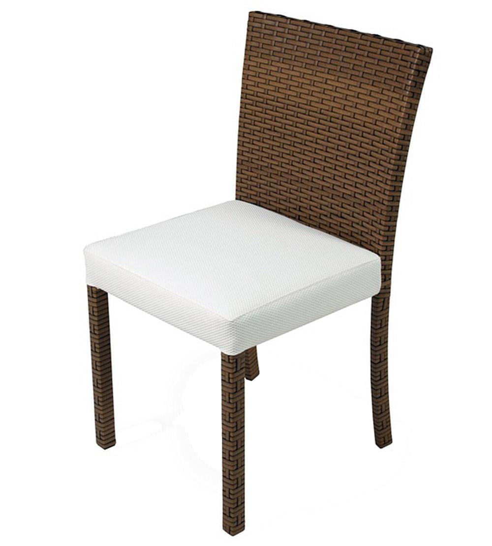 Cadeira Dixon Revestida em Fibra Sintentica e Assento cor Branco com Base Aluminio - 44539
