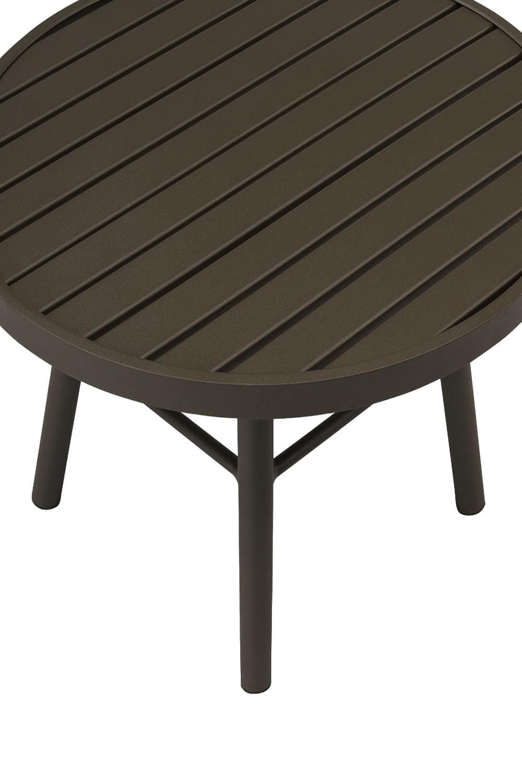 Mesa Lateral Redonda Brea Estrutura Aluminio cor Marrom 50 cm (ALT) - 44621