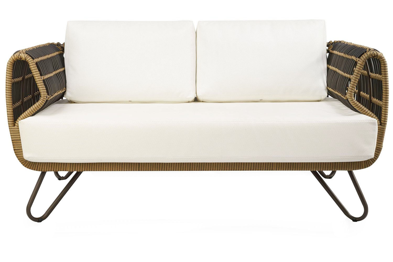 Sofa Saratoga 2 Lugares Estrutura Aluminio Revestido em Fibra cor Bege Madrid - 44659