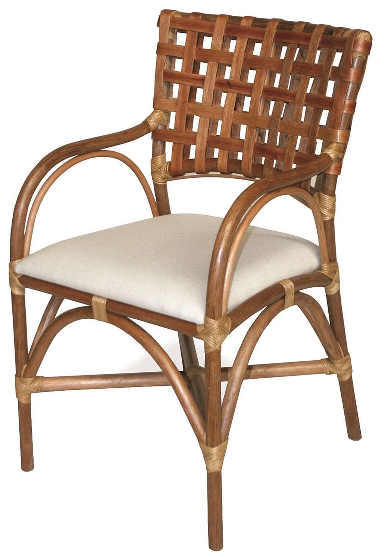 Cadeira Lynn com Bracos Assento cor Branco e Base Madeira Apui - 44720