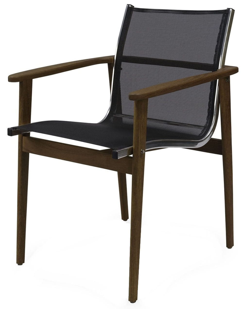 Cadeira Moline Assento em Tela cor Preto com Base Madeira Cumaru - 44732