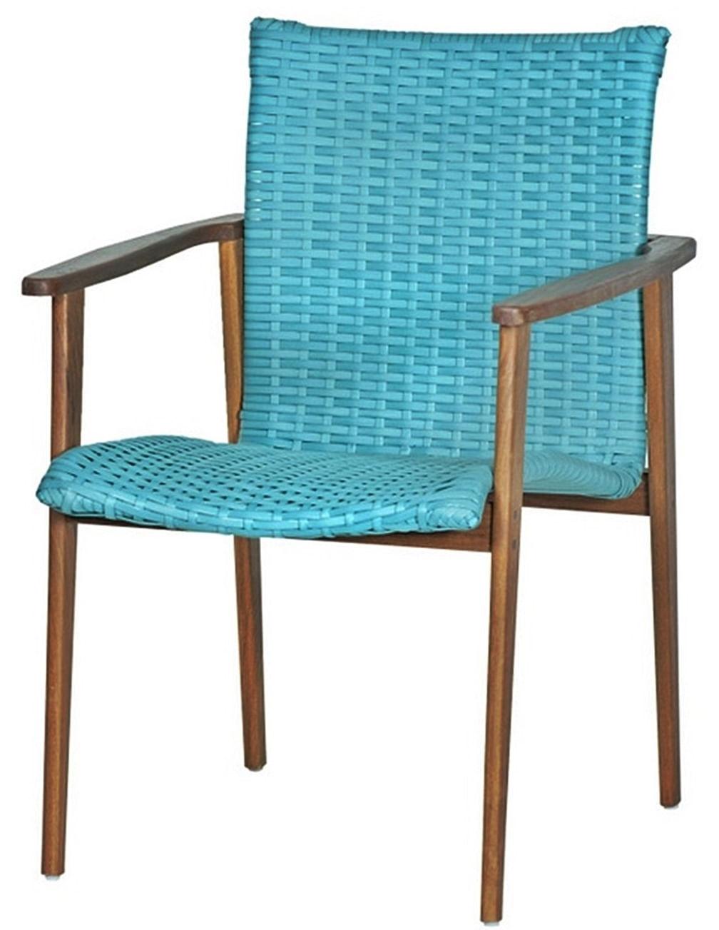 Cadeira Pierre Assento Revestido Fibra cor Piscina com Base Madeira Cumaru - 44717