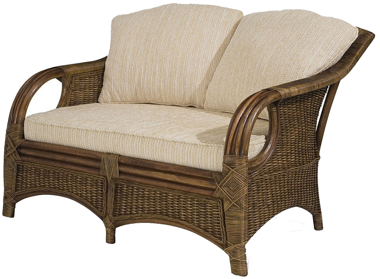 Sofa Utica 2 Lugares Assento cor Bege com Base Madeira Apui Revestido em Junco - 44779