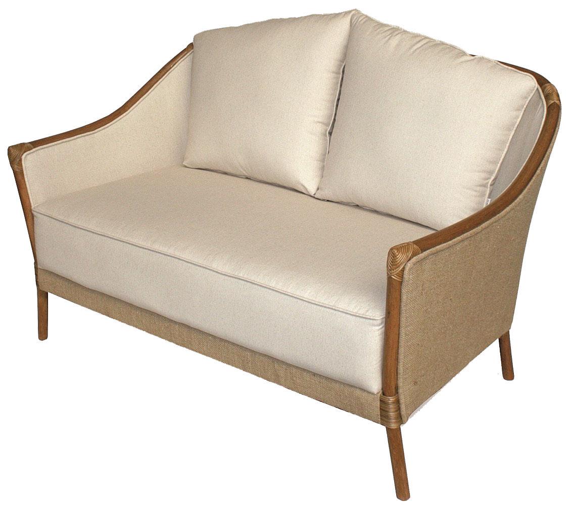 Sofa Parma 2 Lugares Assento cor Bege com Estrutura Madeira Apui - 44780