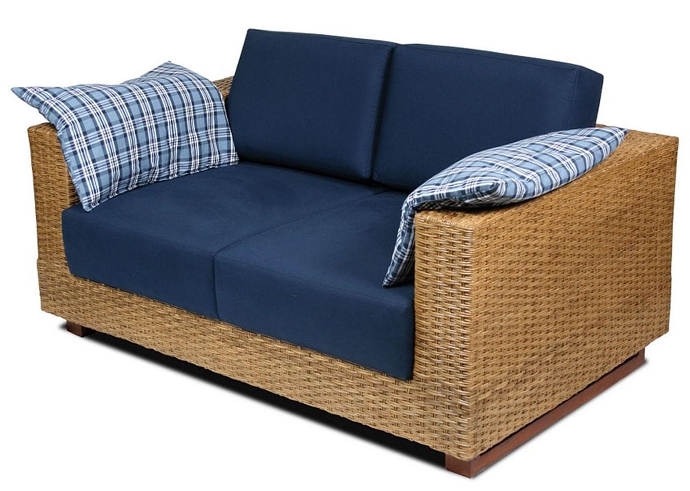 Sofa Salinas 2 Lugares Assento cor Azul Marinho com Base Madeira Revestida em Junco - 44784