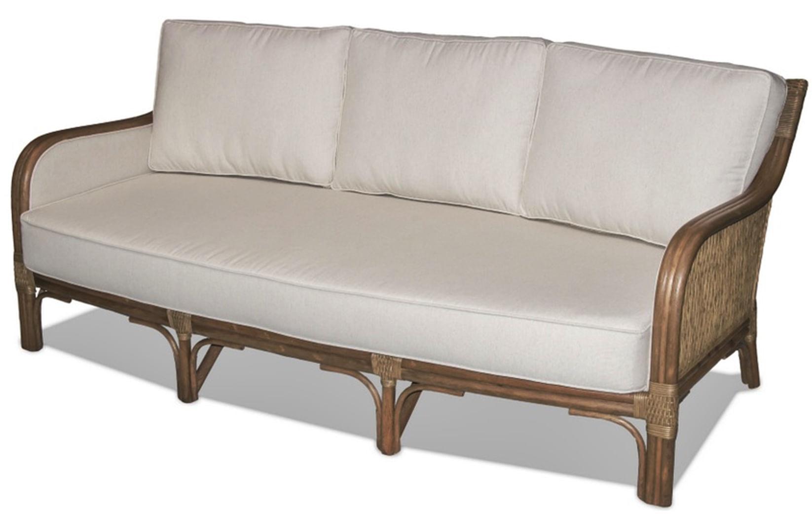 Sofa Nogales 3 Lugares Assento cor Branco com Base Madeira Apui - 44788