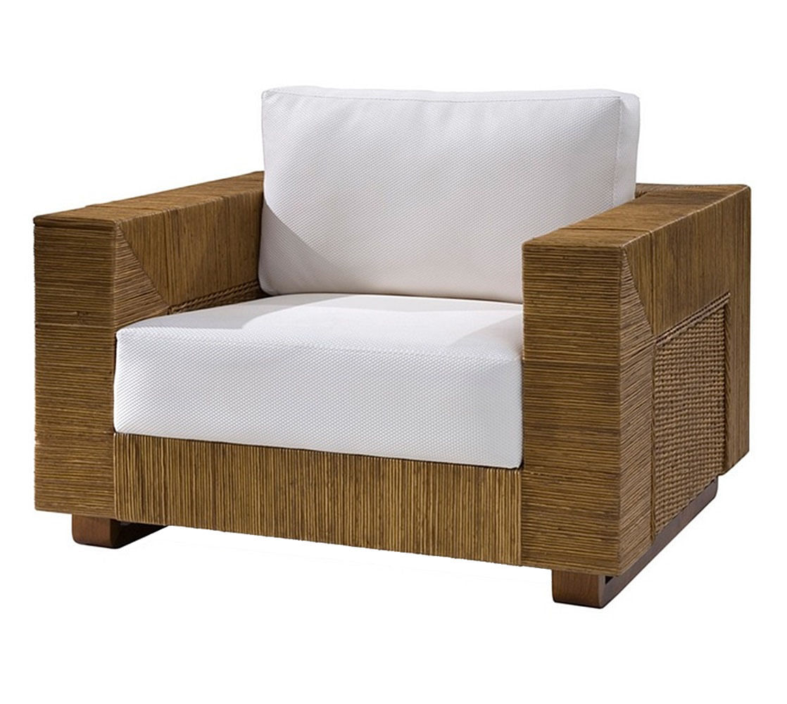 Poltrona Maden Assento cor Branco com Base Madeira Apui Revestido em Junco - 44822