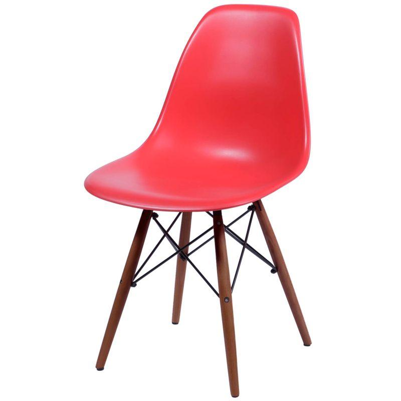 Cadeira-Eames-Polipropileno-Vermelho-Fosco-Base-Escura