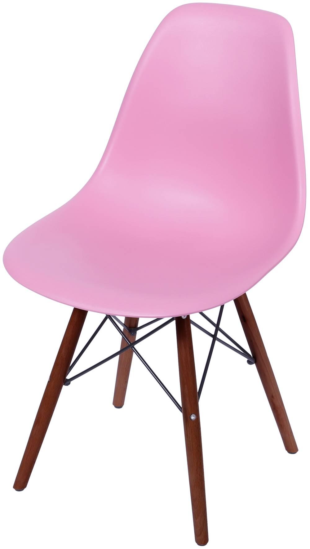 Cadeira Eames Polipropileno Rosa Pink Base Escura - 44836