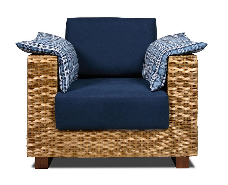 Poltrona Salinas Assento cor Azul Marinho com Base Madeira Revestido em Junco - 44850