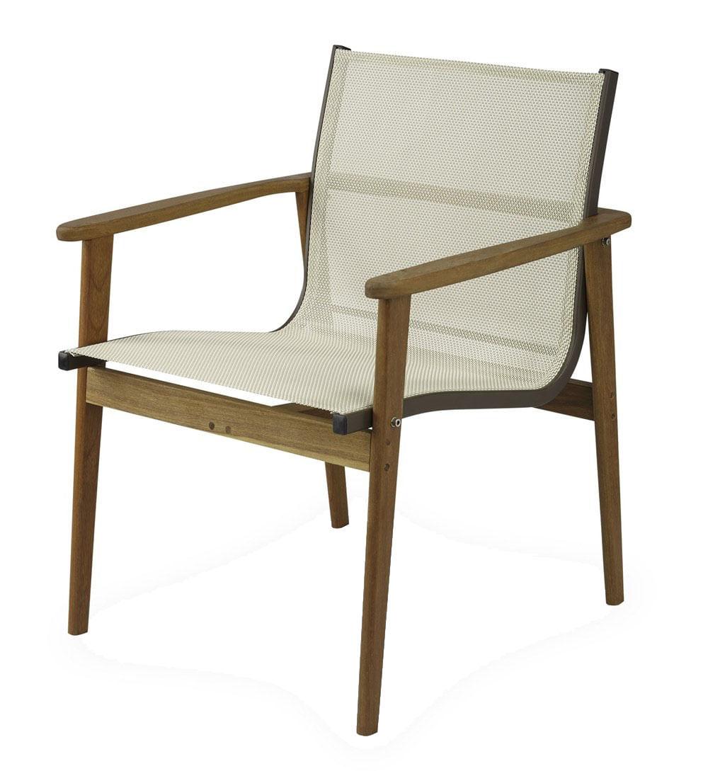 Poltrona Moline Assento em Tela cor Branco com Base Madeira Cumaru - 44855
