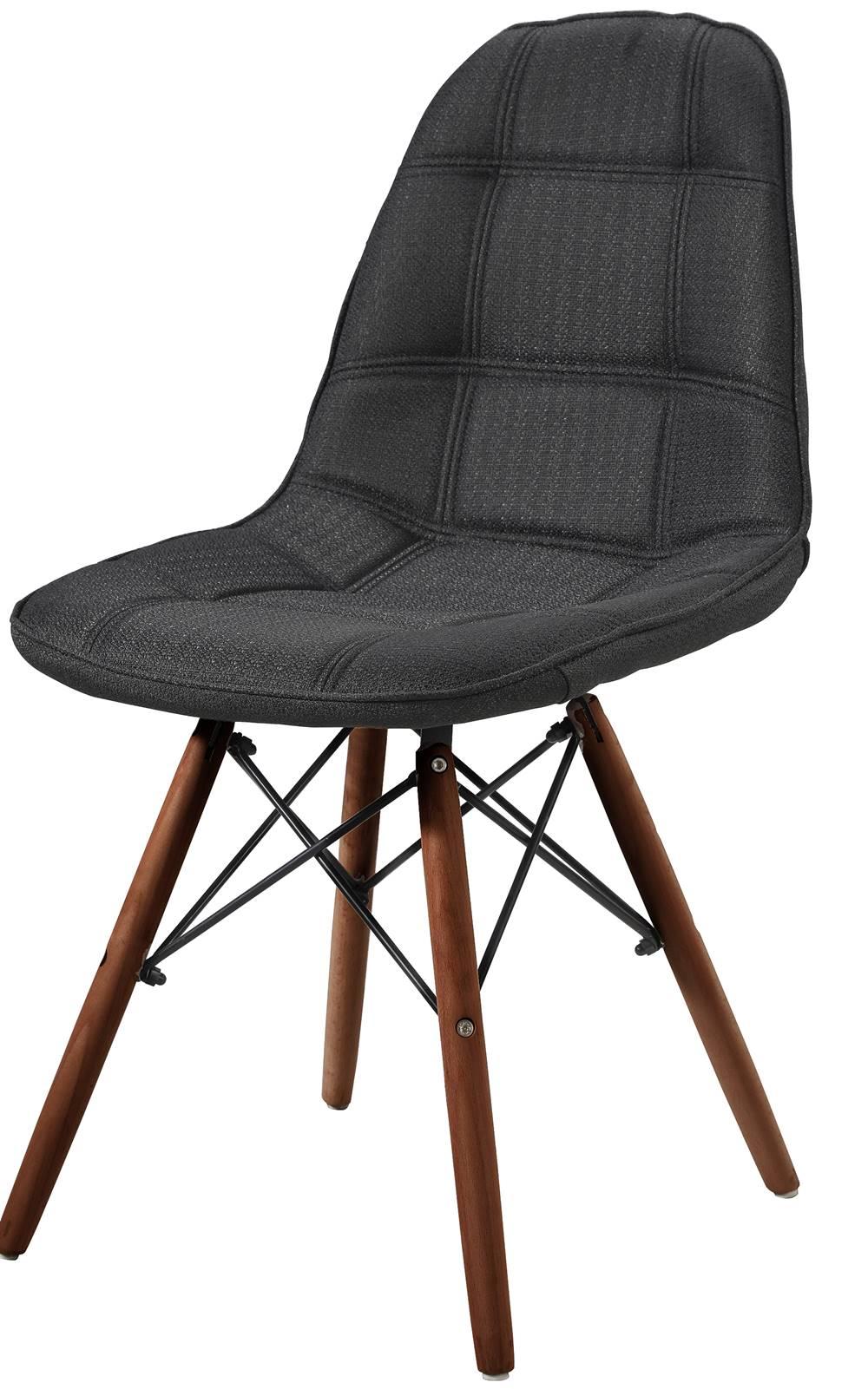 Cadeira Eames Eiffel Linho Preto Base Escura - 44879