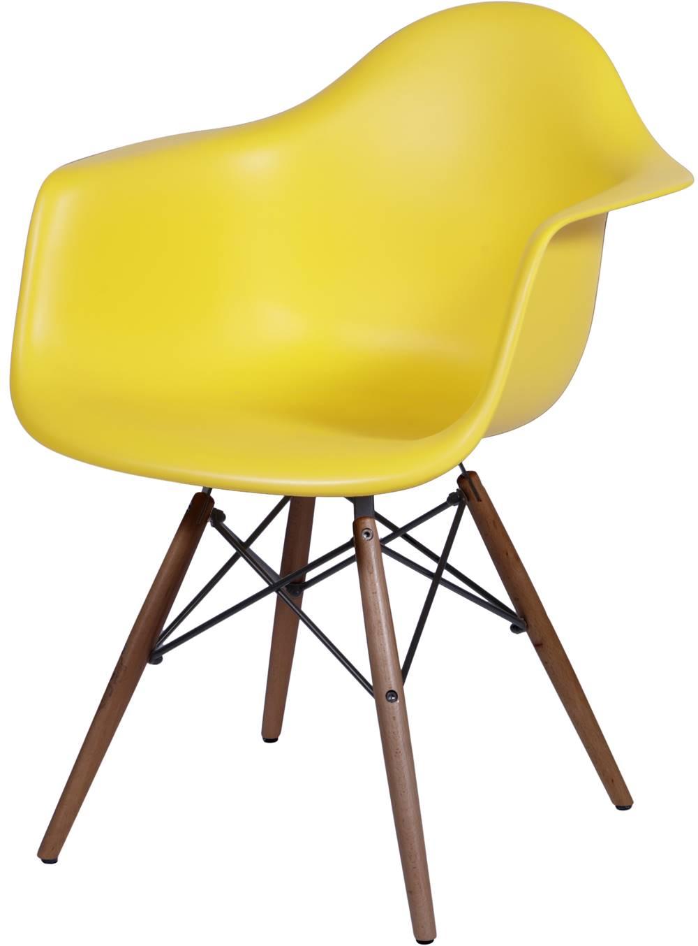 Cadeira Eames com Braco Base Escura Amarela Fosco - 44880