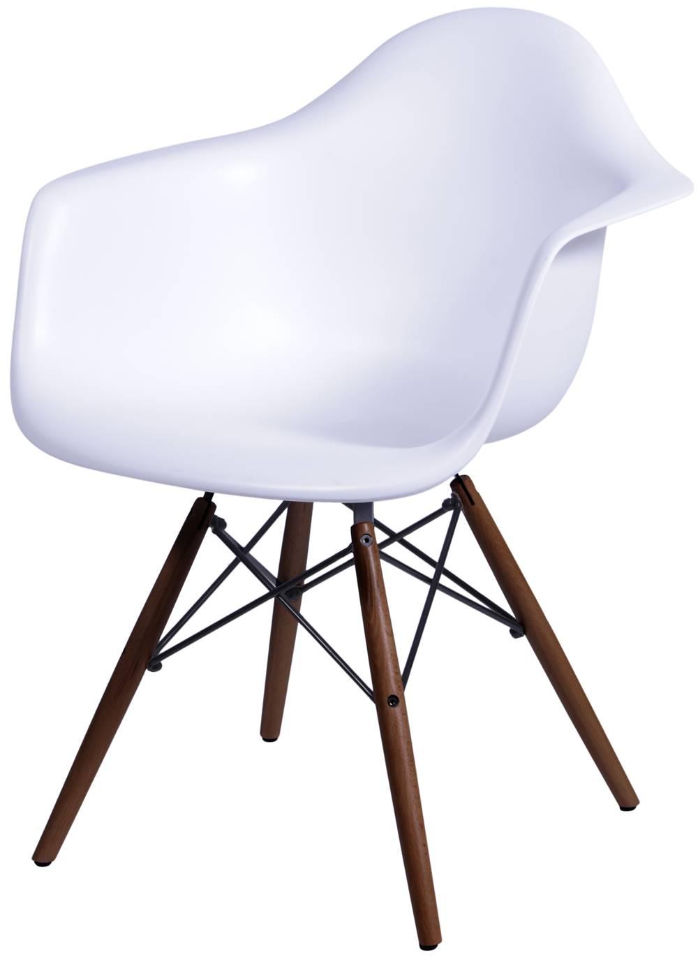 Cadeira Eames com Braco Base Escura Branco Fosco - 44881