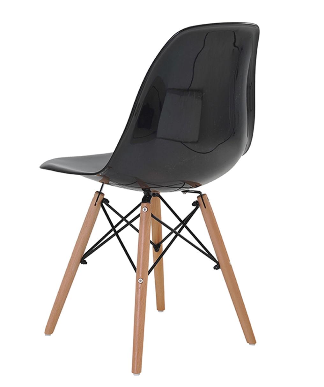 Cadeira Eames Eiffel Policarbonato Preto Solido Base Madeira - 44181