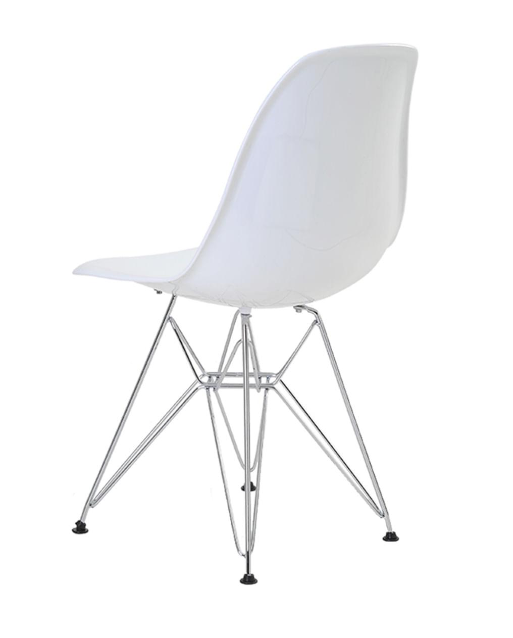 Cadeira Eames Eiffel Policarbonato Branco Solido Base Cromada - 44195