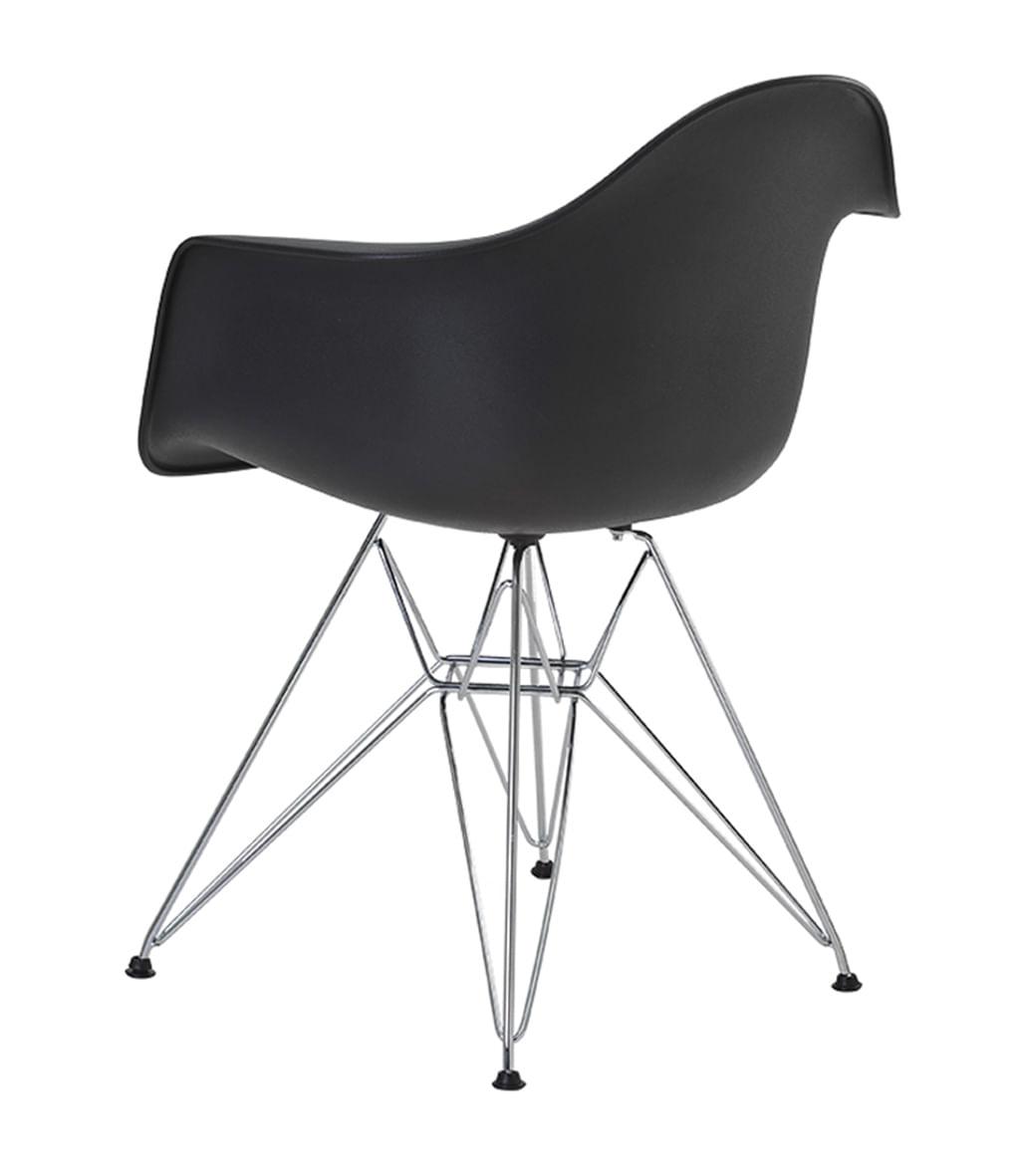 Cadeira Eames Eiffel com Braco Polipropileno cor Preto Base Cromada - 44923
