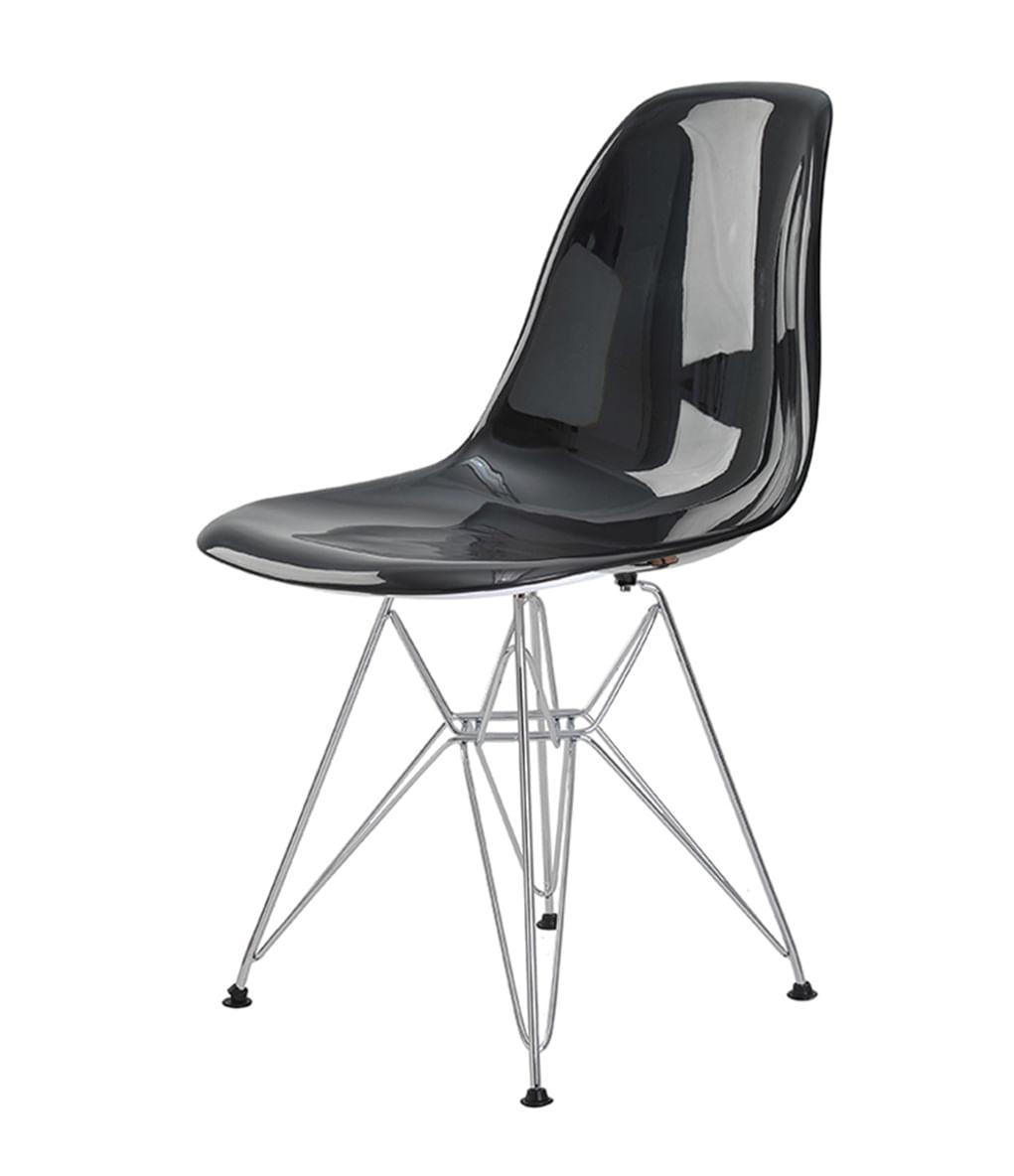 Cadeira Eames Eiffel Policarbonato Preto Solido Base Cromada - 44196