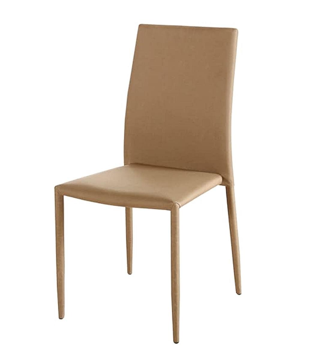 Cadeira Amanda 6606 Estrutura Metal Revestido em Poliester cor Bege Escuro - 44946